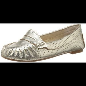 NWOT Steve Madden Metallic Gold Perforated Loafers
